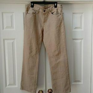 Banana republic tan straight jeans, 33x30